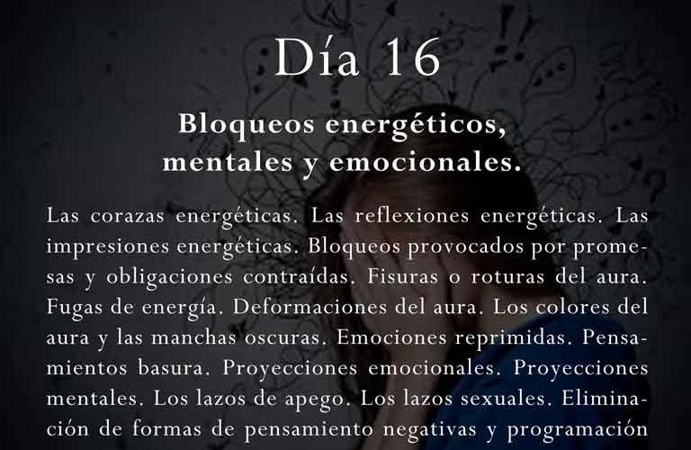 Las corazas energéticas. Las reflexiones energéticas. Las impresiones energéticas. Bloqueos provocados por promesas y obligaciones contraídas. Fisuras o roturas del aura. Fugas de energía. Deformaciones del aura. Los colores del aura y las manchas oscuras. Emociones reprimidas. Pensamientos basura. Proyecciones emocionales. Proyecciones mentales. Los lazos de apego. Los lazos sexuales. Eliminación de formas de pensamiento negativas y programación mental negativa. Eliminación de patrones de conducta y comportamiento.