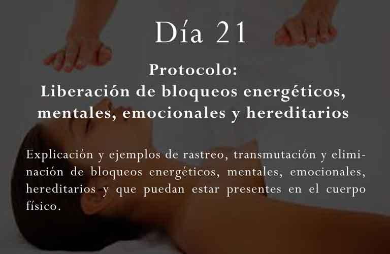 Explicación y ejemplos de rastreo, transmutación y eliminación de bloqueos energéticos, mentales, emocionales, hereditarios y que puedan estar presentes en el cuerpo físico.