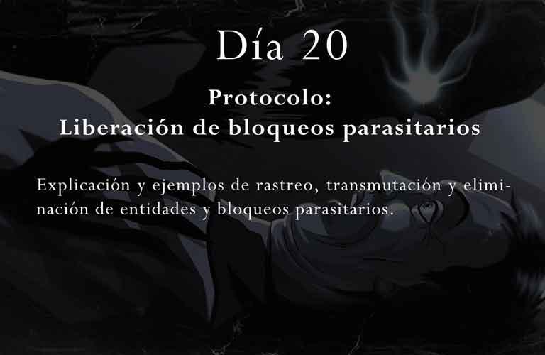 Explicación y ejemplos de rastreo, transmutación y eliminación de entidades y bloqueos parasitarios.